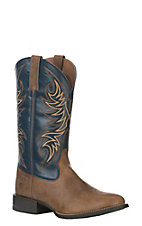 Ariat Men's Sport Horsemen Sandstorm with Solid Blue Upper Western Round Toe Boots