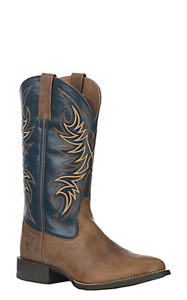 Ariat Men's Sport Horsemen Sandstorm and Solid Blue Round Toe Western Boots