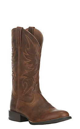 Ariat Men's Sport Herdsman Tan Brown Round Toe Western Boot