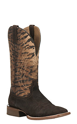Ariat Men's Circuit Stride Hippo Print with Vintage Tiger Print Upper Western Square Toe Boots