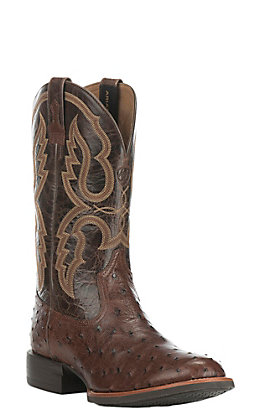 Ariat Men's Quantum Pro Full Quill Ostrich with Dark Brown Upper Exotic Western Round Toe Boots