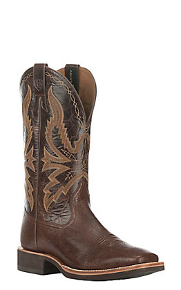 Ariat Men's Quantum Brander Smooth Quill Ostrich with Dark Brown Upper Exotic Western Square Toe Boots