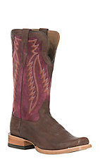 Ariat Men's Relentless Prime Brandy with Violet Upper Western Square Toe Boots