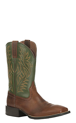 Ariat Men's Sport Western Rafter Tan with Prairie Pesto Upper Western Wide Square Toe Boots