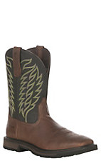 Ariat Men's Brown with Black Upper Harvester Groundbreaker Wide Square Soft Toe Work Boot