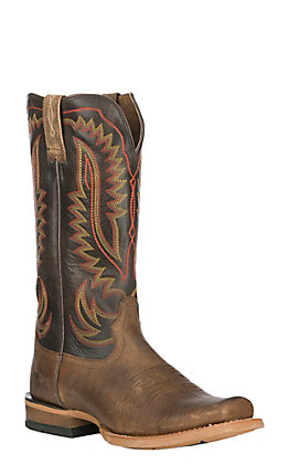Ariat Men's Leather Smoky Cattleguard Wire Print with Washboard Brown Upper Cutter Cavender's Exclusive Square Toe Western Boot