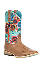 Ariat Kids Natural Lizard Print w/ Turquoise Oil Cloth Upper Western Wide Square Toe Boots