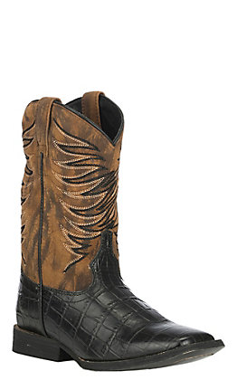 Ariat Kids Black Caiman Print with Dark Marble Upper Wide Square Toe Western Boot