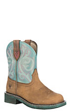 Ariat Women's Distressed Brown w/ Shimmer Turquoise Upper Fatbaby Heritage Western Boot
