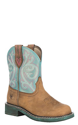 Ariat Women's Distressed Brown with Shimmer Turquoise Upper Fatbaby Heritage Western Boot
