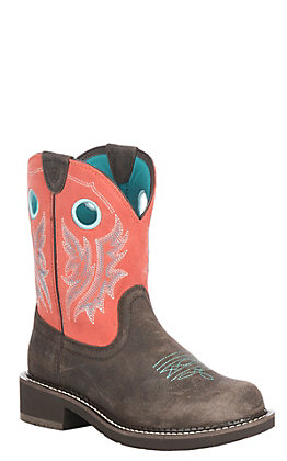 Ariat Women's Chocolate with Coral Upper Fatbaby Heritage Cowgirl Western Boots