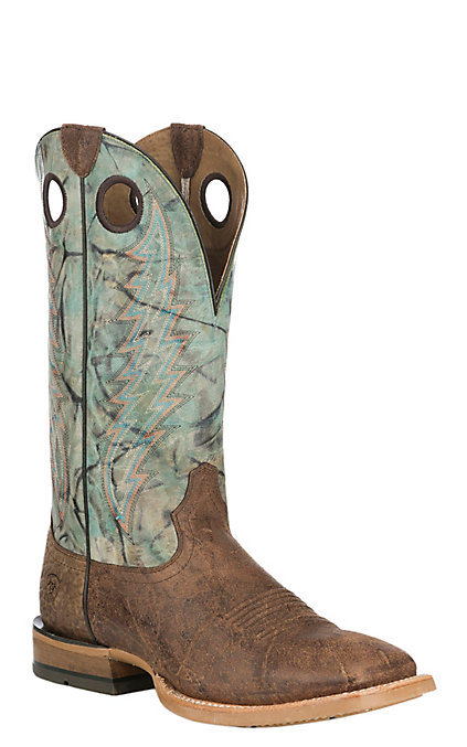 b3db0d76cec Ariat Branding Pen Men's Brown and Marble Wide Square Toe Western Boots