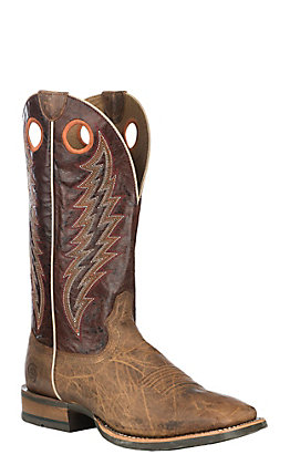 Ariat Men's Branding Pen Tobacco Toffee and Sunset Maroon Wide Square Toe Western Boot
