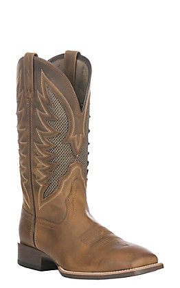 Ariat Men's VentTEK Ultra Distressed Brown Wide Square Toe Western Boot