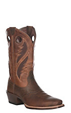 Ariat Men's Brown Oiled Rowdy w/ Two Tone Tan Upper VentTEK Narrow Square Toe Western Boots