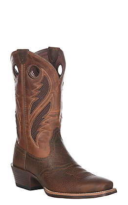 Ariat Men's Brown Oiled Rowdy with Two Tone Tan Upper VentTEK Narrow Square Toe Western Boots