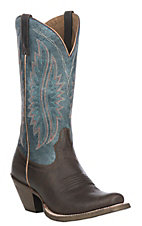 Ariat Women's Buckaroo Brown with Denim Blue Upper Circuit Salem Square Toe Western Boot