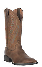 Ariat Men's Distressed Brown Sport Stonewall Wide Square Toe Western Boot