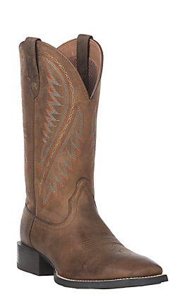 Ariat Sport Stonewall Men's Distressed Brown Wide Square Toe Western Boot