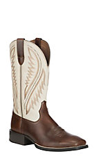 Ariat Men's Native Nutmeg with Cream Upper Sport Stonewall Wide Square Toe Western Boots