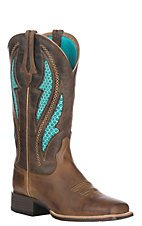 Ariat Women's Distressed Brown w/ Silly Brown Upper VentTEK Ultra Wide Square Toe Western Boots