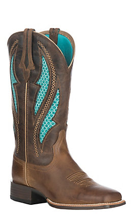 Ariat Women's Distressed Brown with Silly Brown Upper VentTEK Ultra Wide Square Toe Western Boots