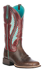 Ariat Women's Chocolate Chip w/ Rooster Red Upper VentTEK Ultra Wide Square Toe Western Boots