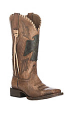 Ariat Women's Naturally Distressed Brown w/ Thunderbird Lasered Patch Wide Square Toe Western Boots