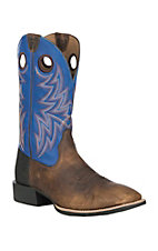 Ariat Men's Bar Top Bison with Tack Room Blue Upper Heritage Cowhorse Wide Square Toe Western Boot