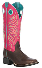 Ariat Women's Yukon Magenta w/ Magenta upper Round Up Ryder Western Wide Square Toe Boots