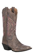 Ariat Women's Tack Room Chocolate Round Up Outfitter Wide Square Toe Western Boot