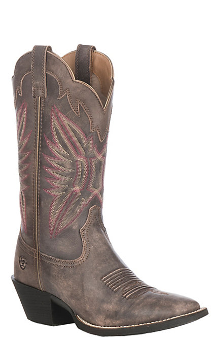 8eb7bbe453a Ariat Women's Tack Room Chocolate Round Up Outfitter Wide Square Toe  Western Boot