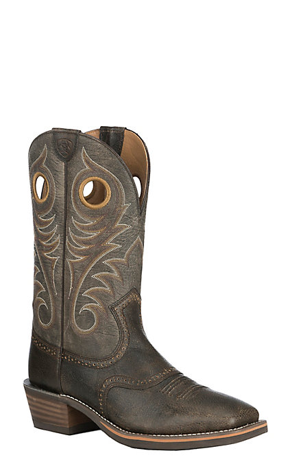 821672fbf1a Ariat Men's Brooklyn Brown with Ashes Upper Heritage Roughstock Wide Square  Toe Western Boot