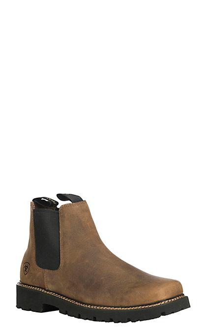 44e1f913024 Ariat Men's Distressed Brown Spot Hog Wide Square Toe Casual Boot