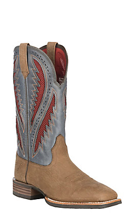 Ariat Men's Aged Tan with Steel Blue Upper Quickdraw VentTEK Wide Square Toe Western Boots
