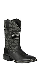 Ariat Men's Sport Patriot Black Deertan with Black Ops Camo upper and American Flag Patch Western Wide Square Toe Boots