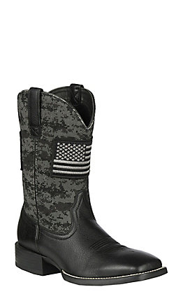 Ariat Sport Patriot Men's Black Deertan & Back Camo American Flag Patch Wide Square Toe Western Boots
