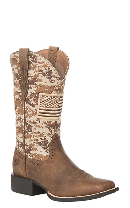 383078e8d88 Ariat Women's Patriot Distressed Brown with Sand Camo Upper & American Flag  Patch Wide Square Toe Boots