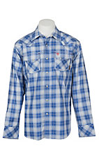 Ariat Men's Simeon Blue and White Plaid Retro Long Sleeve FR Work Shirt