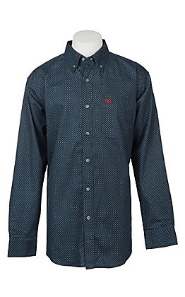 Ariat Men's Durango Navy Print Long Sleeve FR Work Shirt - Big & Tall