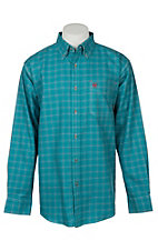 Ariat Men's Kody Turquoise Plaid Long Sleeve FR Work Shirt
