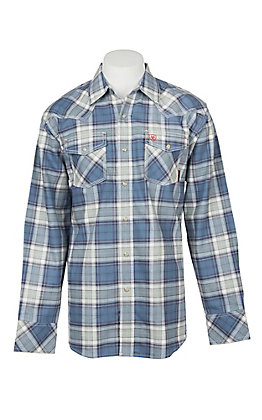 Ariat Men's Permian Blue and Grey Plaid Retro Long Sleeve FR Work Shirt