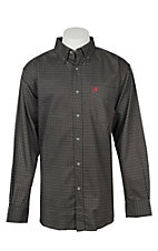 Ariat Men's Grey with White Print Long Sleeve FR Work Shirt