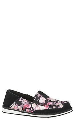 Ariat Cruiser Women's Black Satin Floral Casual Shoes