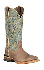 Ariat Women's Rosa Weathered Brown W/ Dust Turquoise Wide Western Square Toe Boots