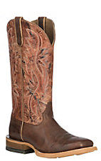 Ariat Women's Rosa Dusted Brown with Flamingo Cognac Upper Wide Western Square Toe Boots