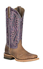 Ariat Women's Rosa Crushed Toffee with Warm Violet Upper Wide Western Square Toe Boots