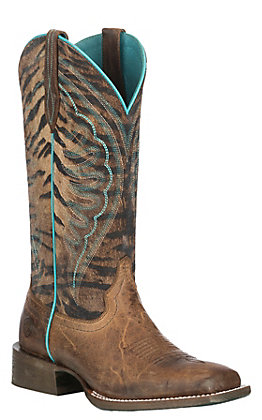 Ariat Women's Circuit Shiloh Tobacco Toffee with Vintage Tiger Print Upper Wide Western Square Toe Boots