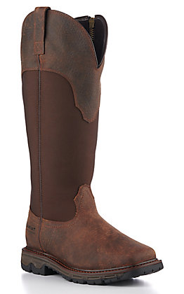 Ariat Women's Conquest Brown Waterproof Wide Square Toe Zip Up Snake Boot