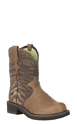 Ariat Women's Vintage Tiger Print Heritage Trio Fatbaby Boot